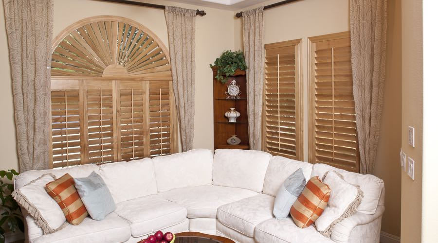 Sunburst Arch Ovation Wood Shutters In Gainesville Living Room