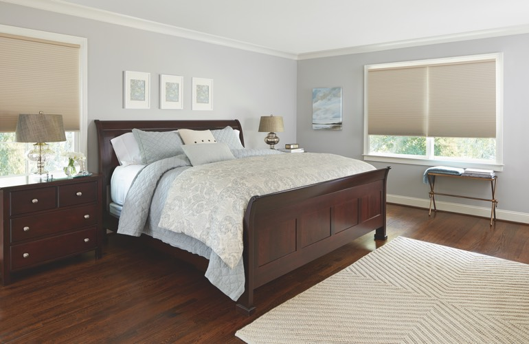 Pull-down shades in a Gainesville bedroom.