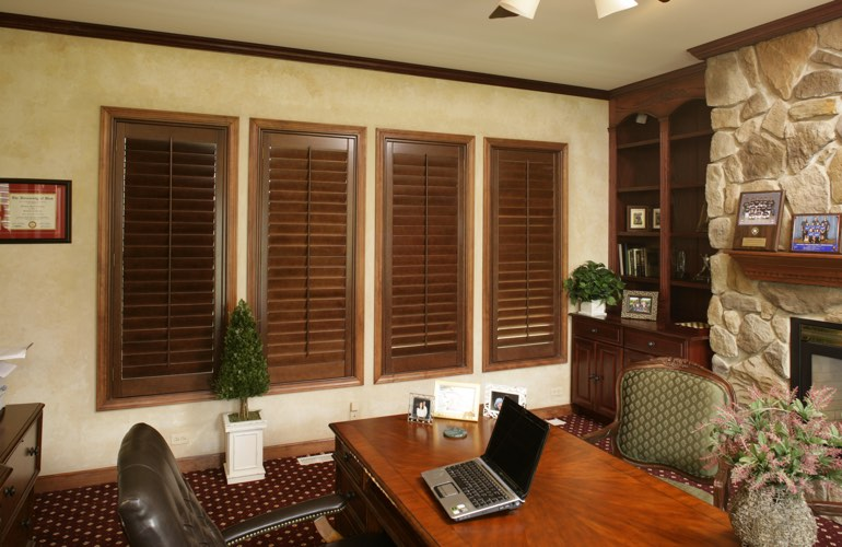 Wooden plantation shutters in a Gainesville home office