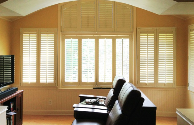 Gainesville plantation shutters in tv room
