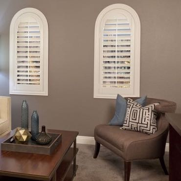 Gainesville family room plantation shutters.