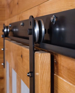 Black J track with metal wheels for sliding barn door shutters