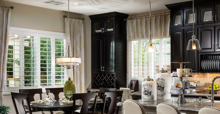 Gainesville kitchen dining room with plantation shutters.