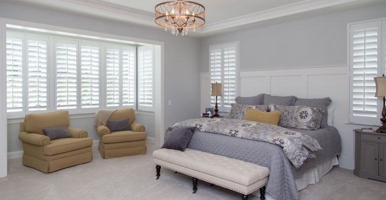 Interior shutters in Gainesville bedroom.