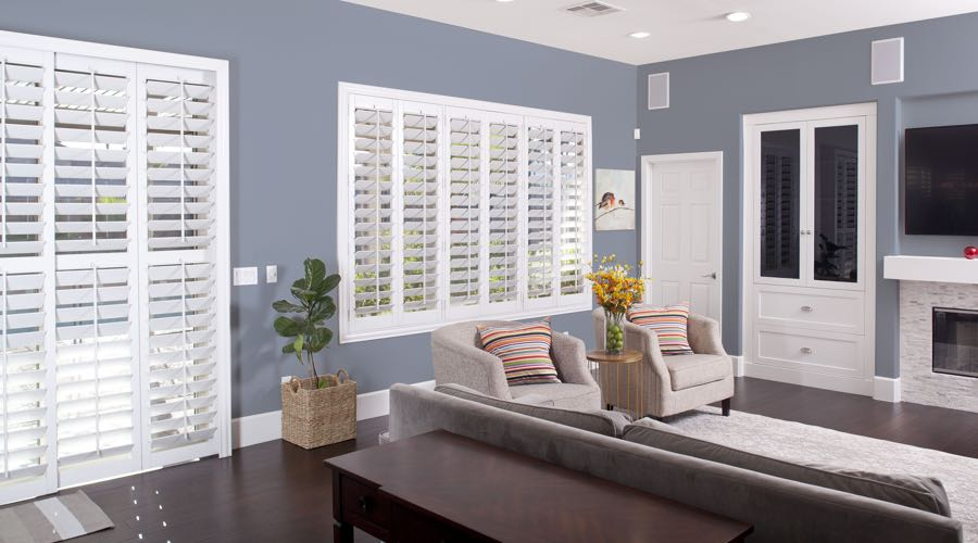 Faux Wood Shutters In modern Gainesville Living Room