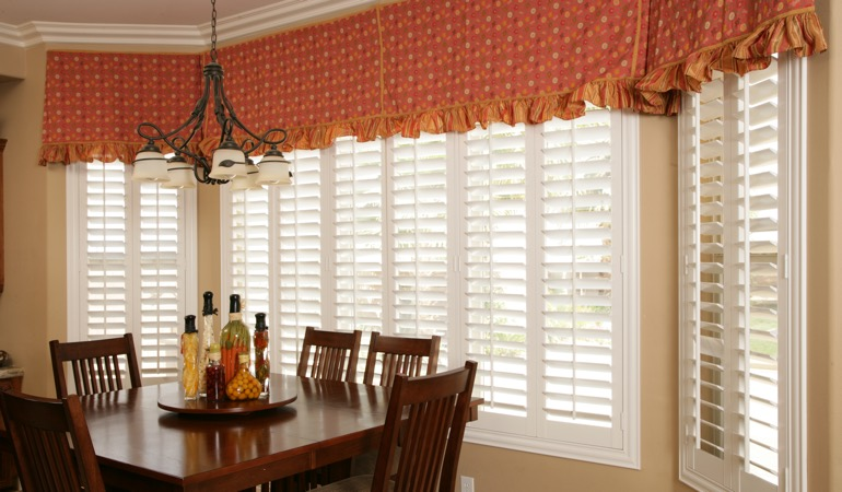 White shutters in Gainesville dining room.