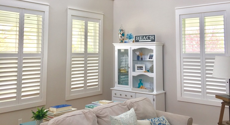 faux wood shutters in Gainesville living room