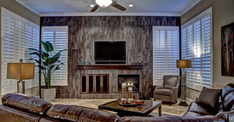 Gainesville living room with shutters