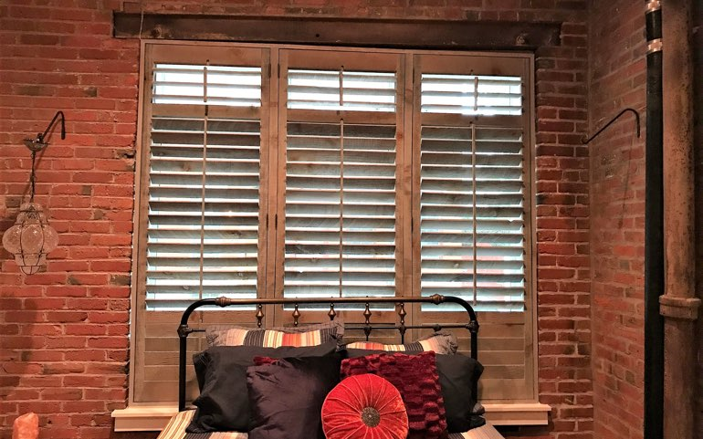 reclaimed wood shutters in Gainesville bedroom