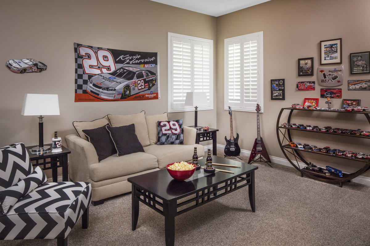 Gainesville man cave with shutters
