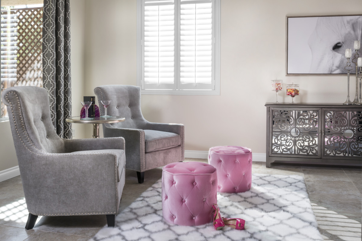 Gainesville pink living room with shutters