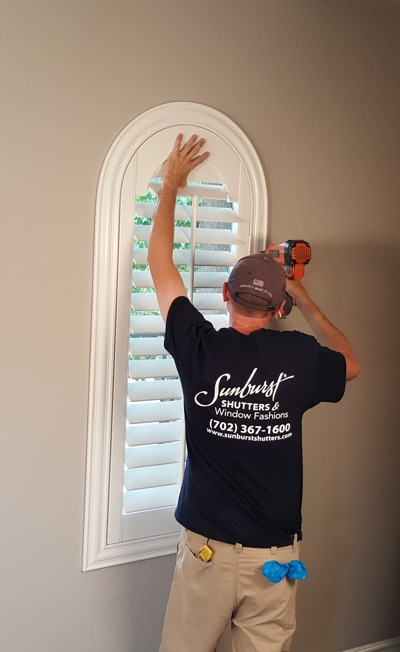 Shutter install in Gainesville family room