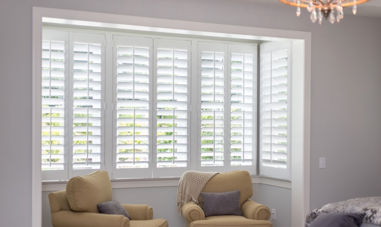 Plantation shutters in Gainesville bay window