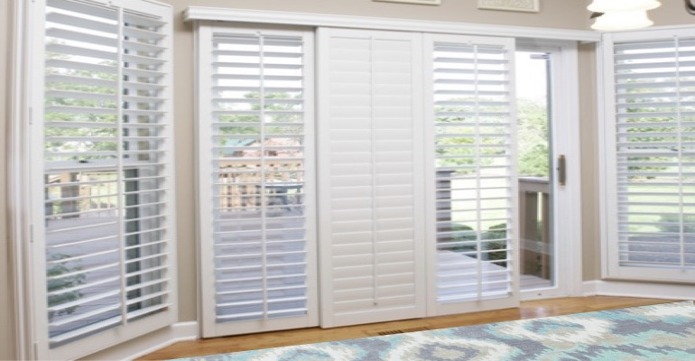 [Polywood|Plantation|Interior ]211] shutters on a sliding glass door in Gainesville