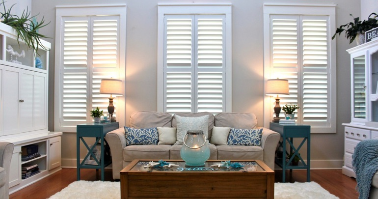 Gainesville living room interior shutters