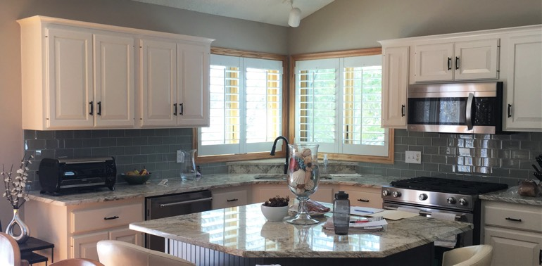 Gainesville kitchen with shutters and appliances