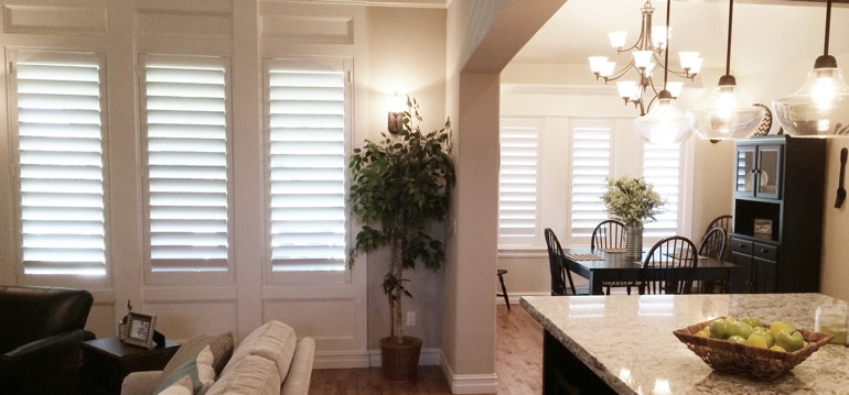 Gainesville shutters in dining room and great room