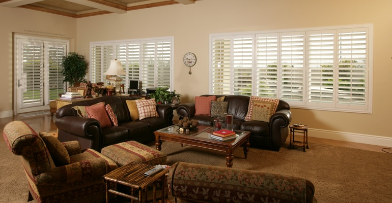 Gainesville family room with interior shutters.