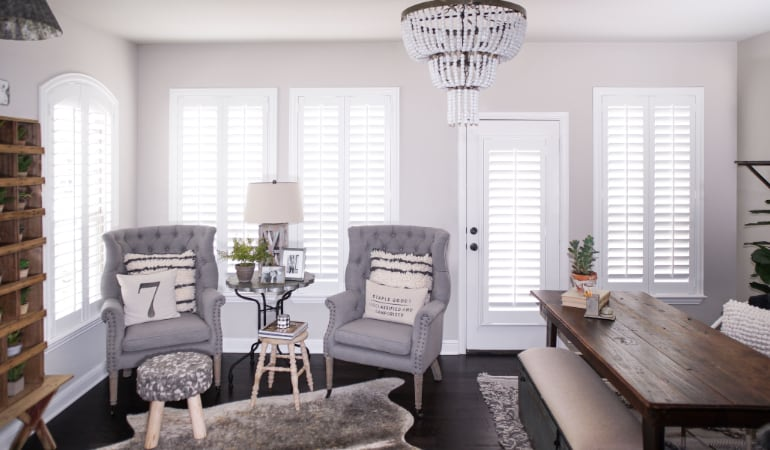 Plantation shutters in a Gainesville living room