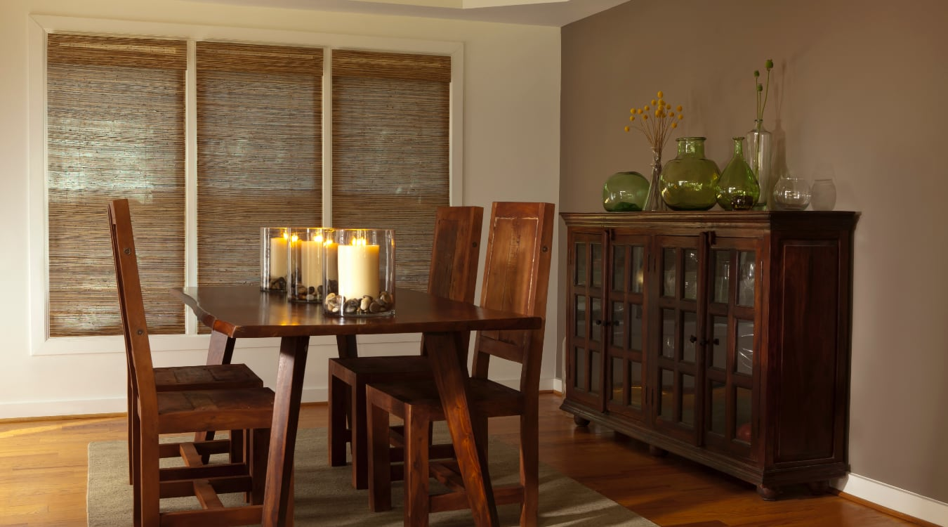 Woven shutters in a Gainesville dining room.