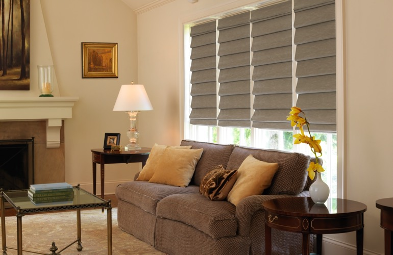 Tan Roman shades covering a window in a contemporary living room