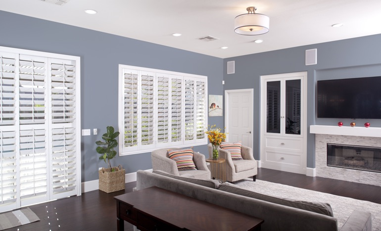 Plantation Shutters In A Gainesville Living Room.