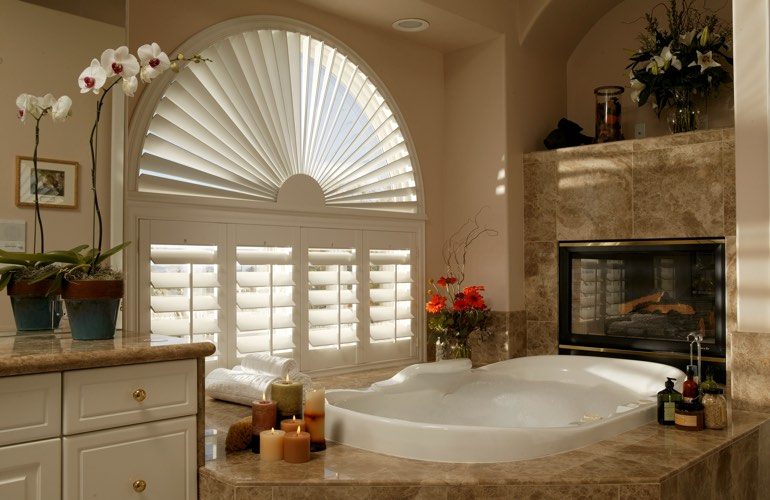 Our Specialists Installed Shutters On A Sunburst Arch Window In Gainesville, FL