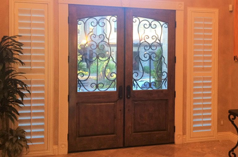 Sidelight window shutters in Gainesville entryway