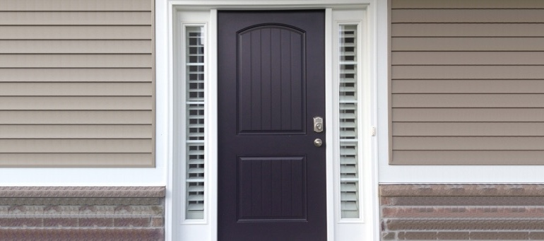 Sidelight Shutters On Black Door In Gainesville, FL