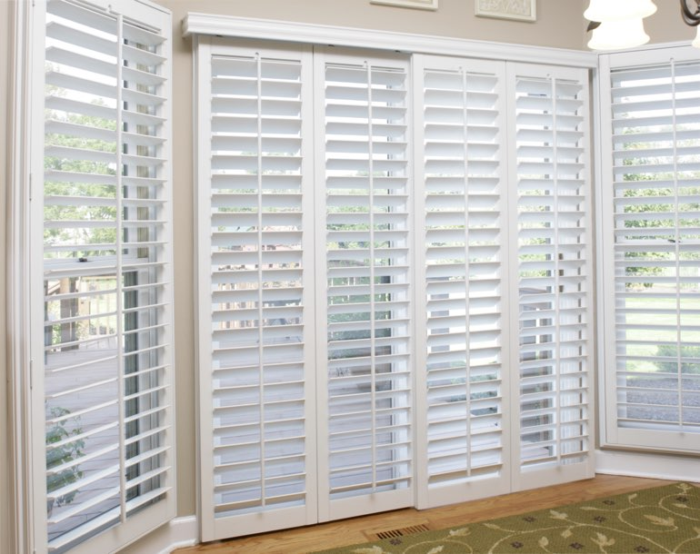 Sliding glass door with plantation shutters Gainesville